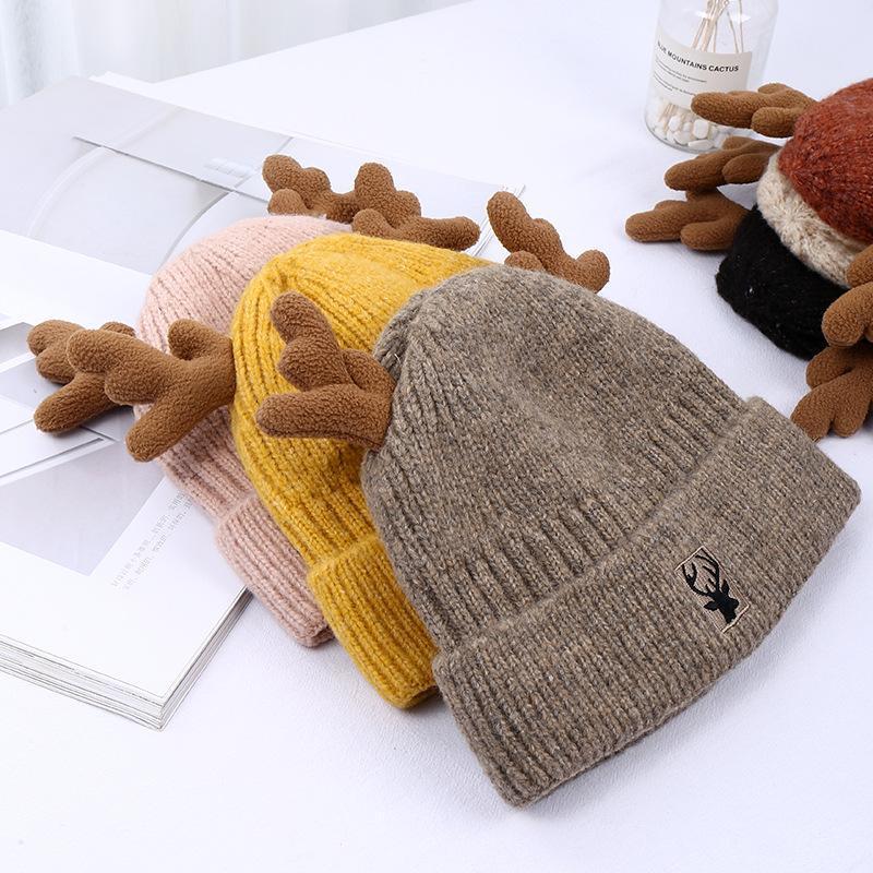 Шапочки / черепные колпачки - милый маленький джокер, антлеры, вязальную шляпу добавляют шерсть зимой, чтобы сохранить тепловую крышку Baotou