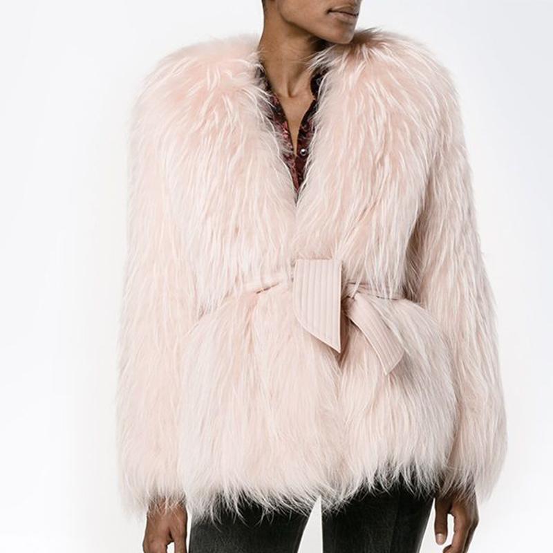 Faux Feminino Faux Katara Moda Sólida V Pescoço Raccoon Curto Casacos Mulheres Elegante Outono Casacos de Inverno Gravata Cinto senhoras