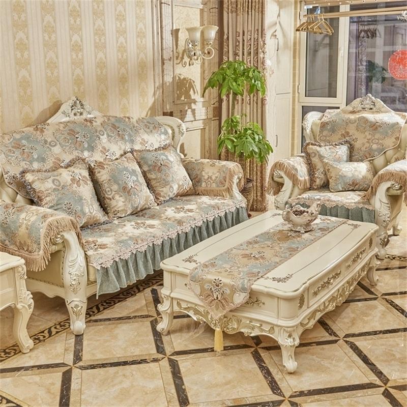 Sofa de haute qualité Toile de luxe Toile de serviette Toile de serviette Couch Couverture Couvercle Livraison Gratuite Chenille Jacquard Sofa Couverture pour salon LJ201216