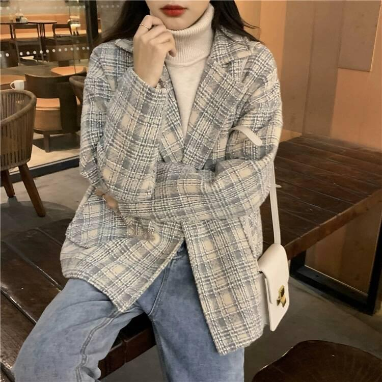 Retro fried Street Plaid suit woolen coat women's fall 2020 new loose and versatile wear long sleeve top
