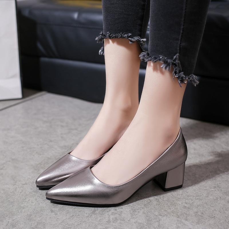 Zapatos de vestir moda mujer trabajo cómodo cuadrado tacón estable y bombas impermeables primavera elegancia solo multicolor u28-47