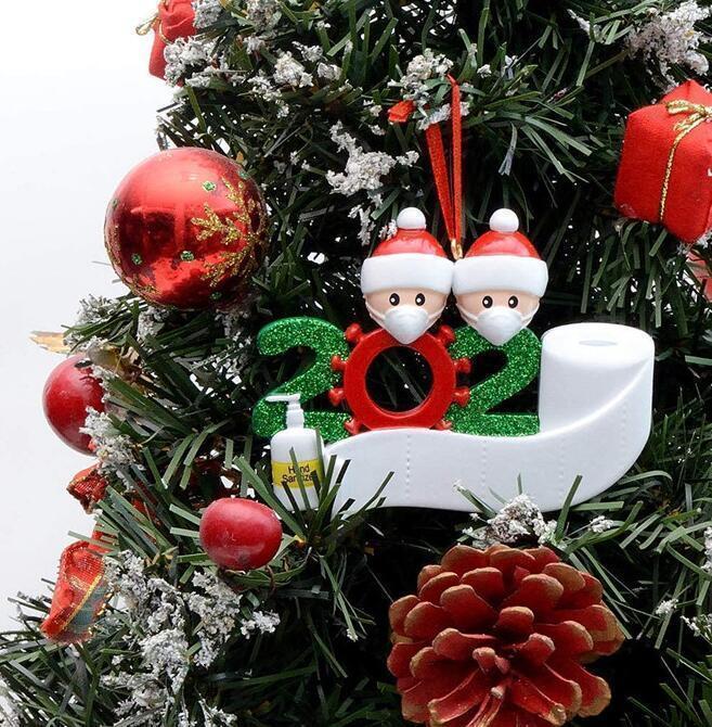 FrayH6e62020 Famille Décoration Quarantaine Cadeau de Noël Arbre d'ornement avec masque de résine Désinitialisé GGA3682S71Z