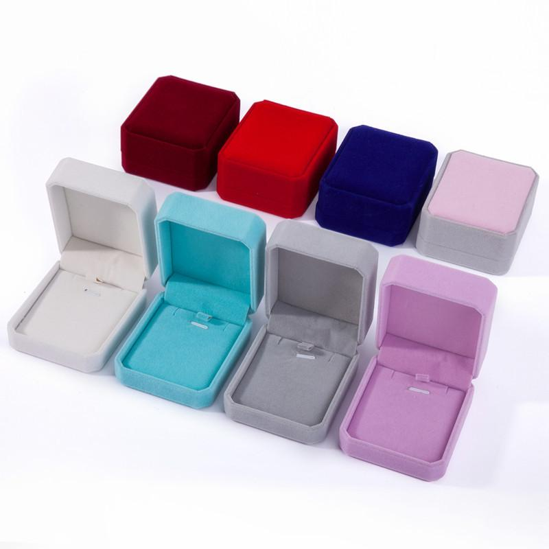Вельхатные ювелирные изделия коробки подарок кулон ожерелье прямоугольник форма дисплей шоу корпус свадьбы вечеринка еврейская упаковочная коробка для падения серег 8 * 7 * 4см