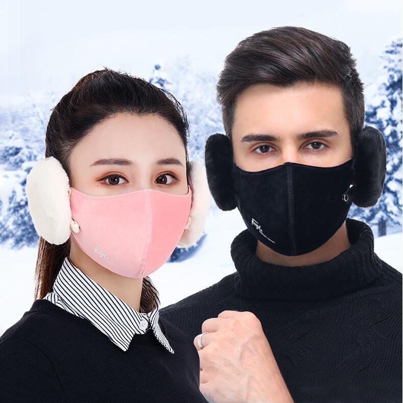2 en 1 Cubierta de máscara de la cara Peluche Ear Protectores Caliente Ciclismo Boca Masks 6 Colores Unisex Invierno Boca Muffle Earflap Diseñador Máscaras CCA1259 EEGG