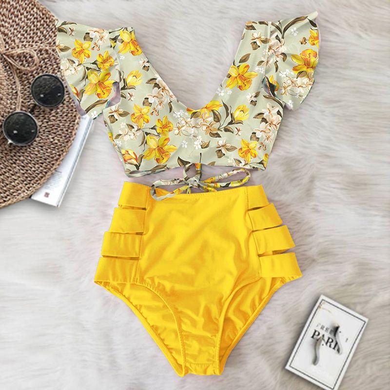 Sexy Bikinis 2020 новый двойной плечо рюкширует бикини набор высокой талии Купальники женщины купальник v-образным вырезом купаться на пляже носить плавать