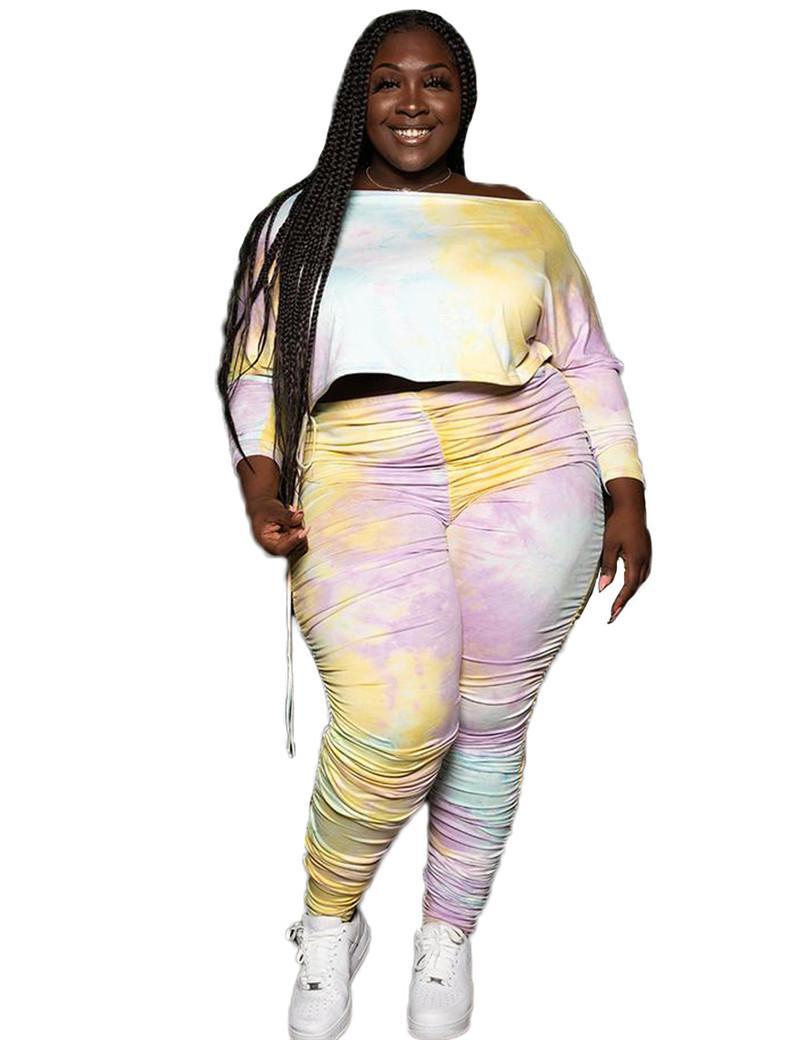 Artı Boyutu Kadın Eşofman Moda Kravat Boyalı Mürettebat Boyun 2 Parça Setleri Kadınlar Yığılmış Tasarımcı Giysi