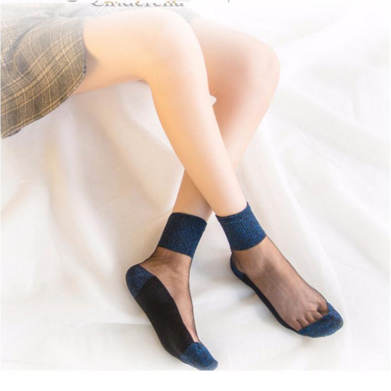 Sexy Lace Mesh Fishnet Socken Transparente Stretch Elastizität Lustige Knöchelglas Socken Nettogarn Dünne Frauen Cool Shiny Si Qylosn