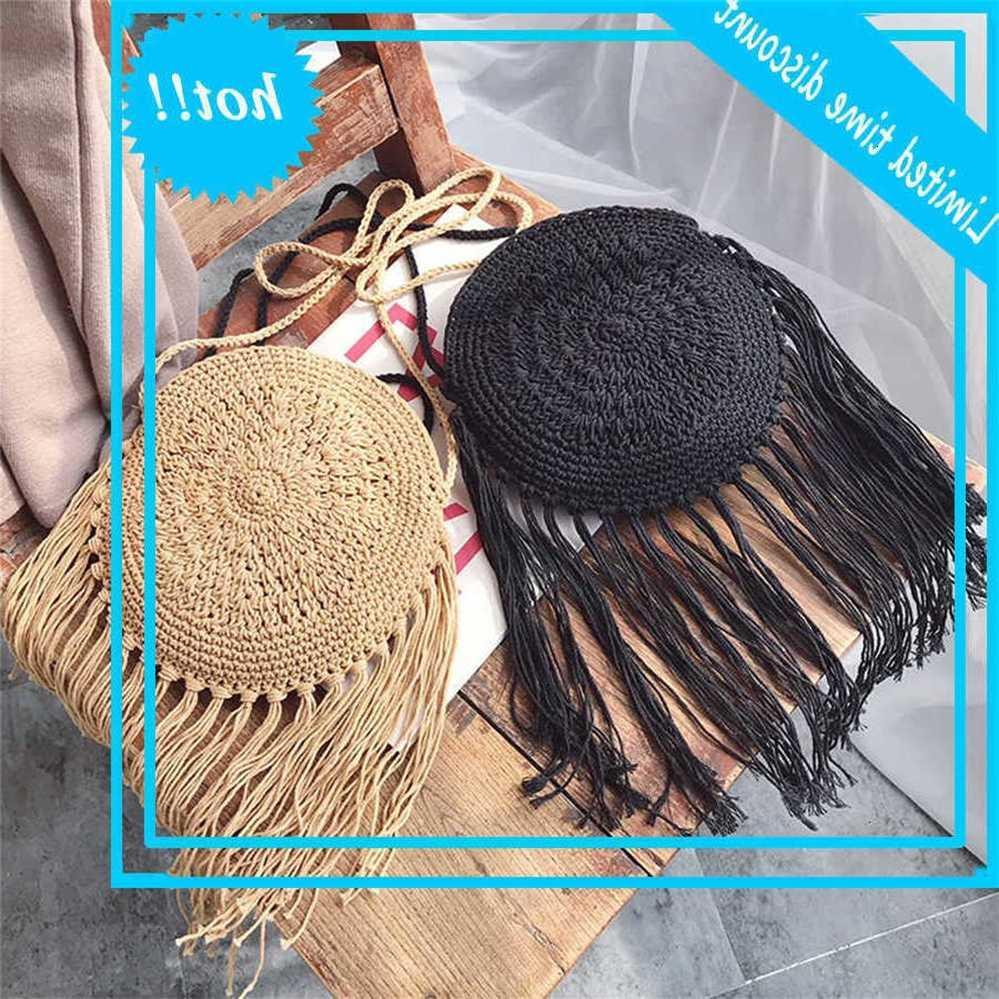Bolsa casual em torno de longa filial stroh rotan mulheres crossbody rieten senhora saco de ombro pequeno carteiras verão praia de verão