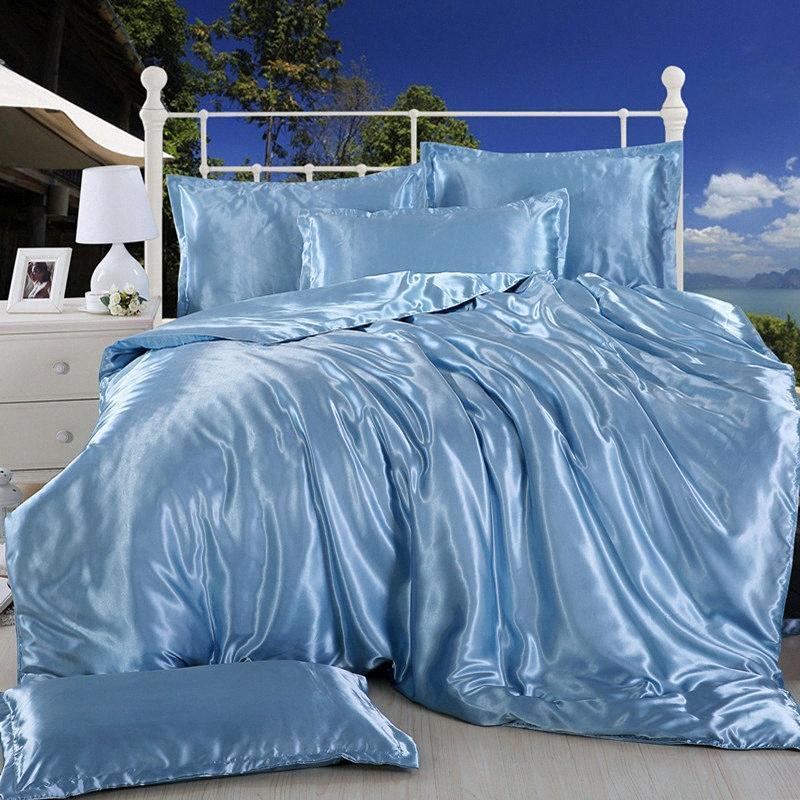 Nuevo 100% satén de seda pura del lecho de materia textil del hogar cama King Size juego de cama Hoja de ropa edredón cubierta plana de fundas de almohada UGfr #