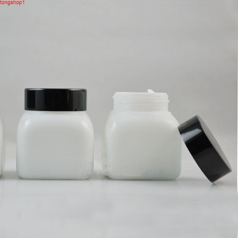 50 g de vidrio de cristal crema crema cuadrado de aluminio negro tapa blanca tapa vacía reclinable reclinable contenedores de cosméticos Packaginggood cuantit