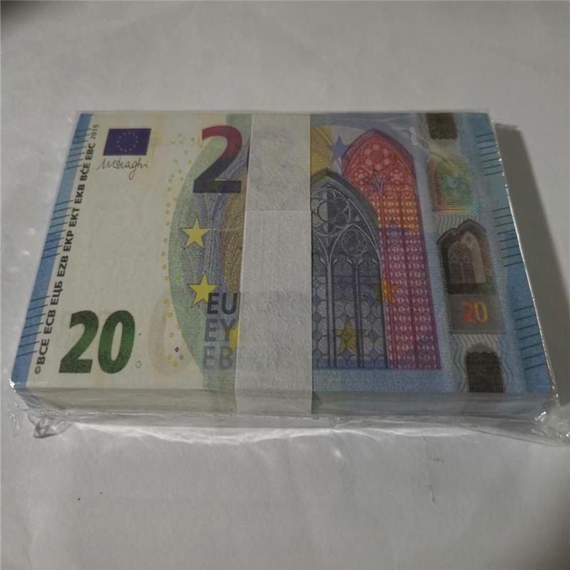 Meilleur pour Euro Pro 100pcs / pack argent kids apprenant des jouets faux films de billets 20 outil faux faux bar de gros cop copie 06 mupqp