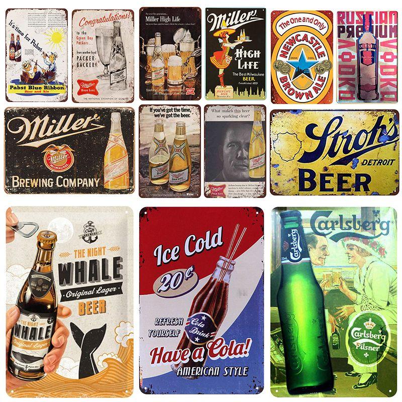 2021 Miller Beer Plaque Métal Vintage Panneau d'étain Pin Up Shabby Chic Décor Signes Metal Signes Vintage Barre de bière Décoration Affiche en métal Plaque de pub