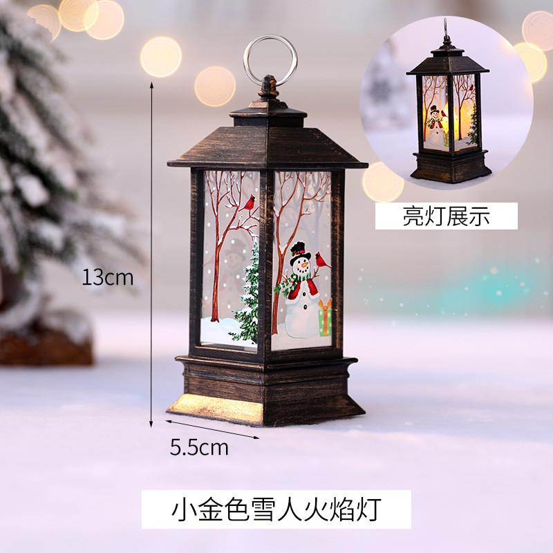 014 hot selling Cross-border Christmas pumpkin lantern simulation flame lamp Christmas tree ornaments shopping mall window bar decoration