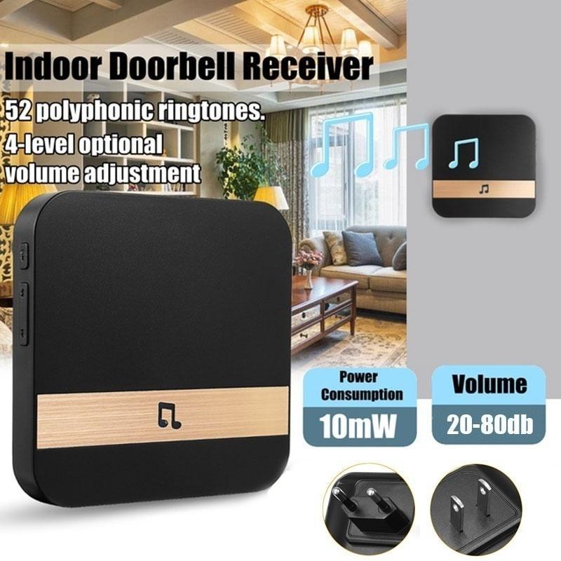 Chime campainha receptor ding ding dong ac 90v-250v 52 sinos 110db wifi porta video câmera de telefone baixo consumo de energia interior sino