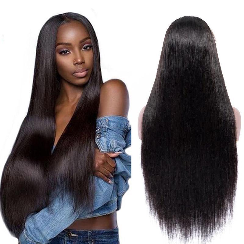 Прямые Эмили индийские волосы парик шнурка 24 дюймов 4 * 4 Remy шнурка волос парика Закрытие Preplucked Hairline с ребенком волос 150 Density парик шнурка