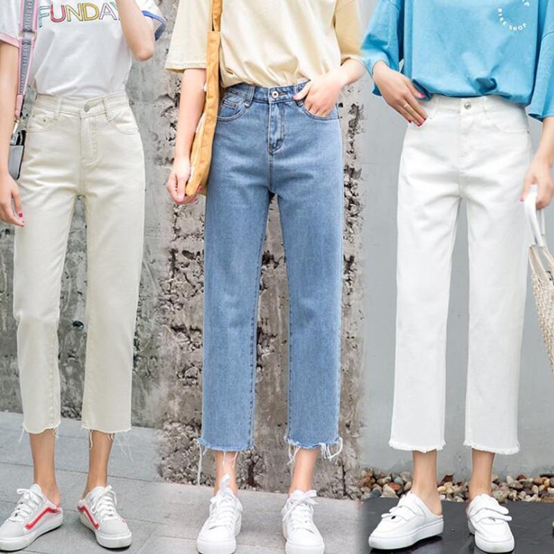 A vita alta mamma jeans pantaloni per le donne Fidanzato pantaloni del denim vintage casual ragazze pantaloni jeans blu bianco latte Estate Autunno
