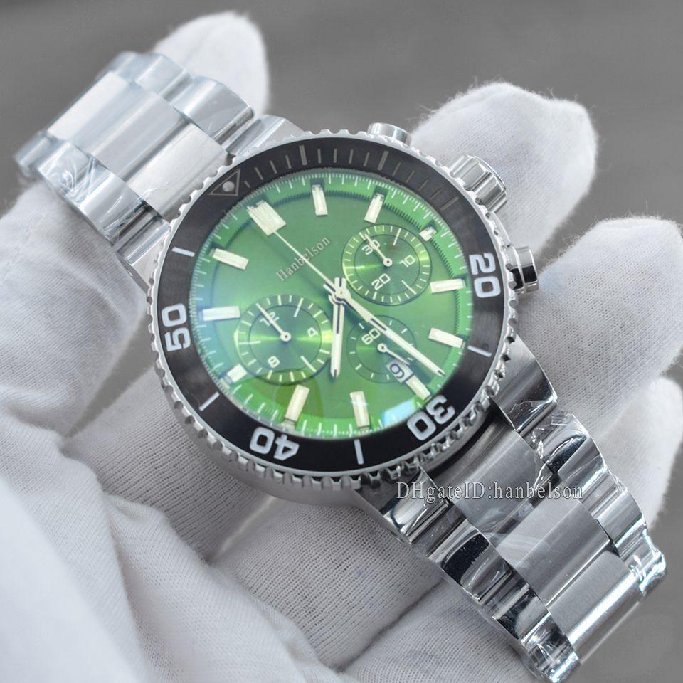 Sıcak Satış Erkek Spor Saatler Kuvars Hareketi Chronograph İzle Özelleştirilmiş Yeşil Yüz Lastik Bant Erkek İzle Montre Homme