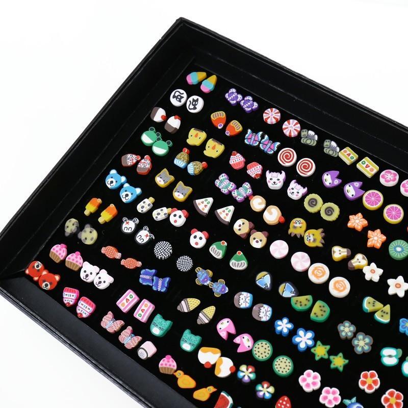 100 paires / nouaison Plante mignon Boucles d'oreilles animaux Pour Femmes Filles Enfants Bijoux Ours argile polymère boucles d'oreilles Aretes pequeos