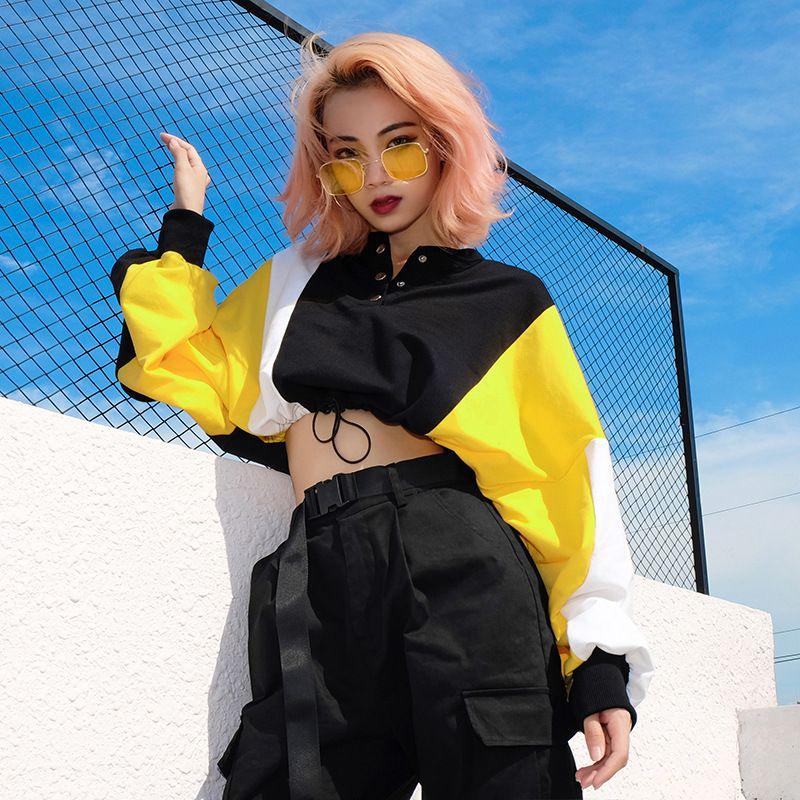 Moda feminina com capuz Roupa Cut off camisola Frente Hoodie Patchwork Jumper pulôver manga comprida Casual Hoodies Y200917