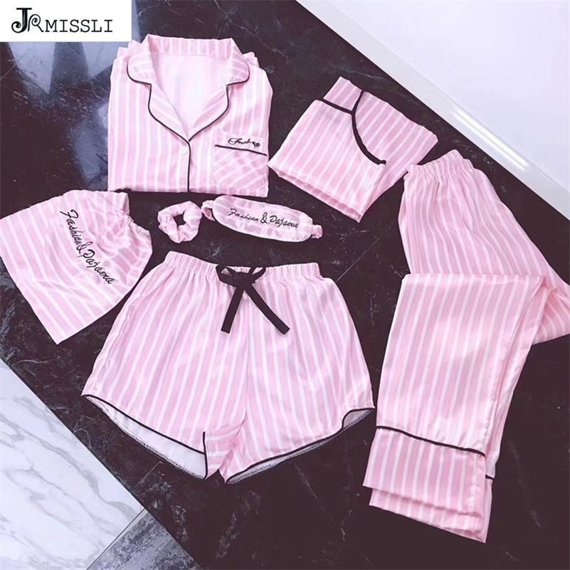 Jrmissli النساء 7 أجزاء منامة الوردي مجموعات الحرير الحرير مثير ملابس داخلية المنزل ارتداء ملابس خاصة منامة مجموعة بيخامة امرأة Y201012