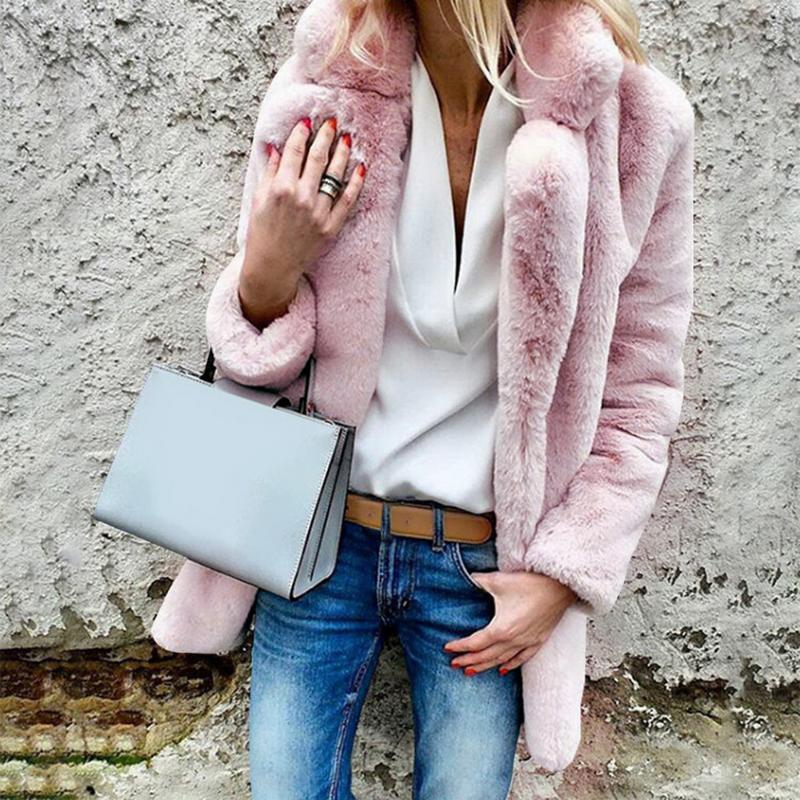 2020 Winter Casual Long искусственного меха Кардиган пальто Теплый Твердая Fluffy с длинным рукавом Искусственный норки Lady Outwear Тонкий пальто
