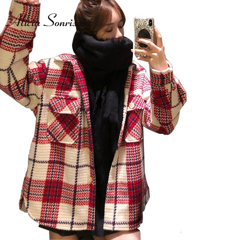 2019 misto lana tweed Cappotti Autunno Inverno cappotto di lana per le donne monopetto Plaid Outwear Plus Size Giacca Femminile