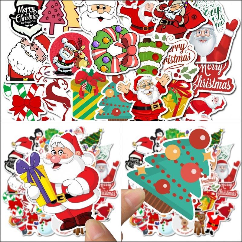 Wasserdichte Wand-Aufkleber-Raum-Dekor 50pcs Laptop Skateboard-Aufkleber Weihnachtsbaum Weihnachtsmann Graffiti-Aufkleber Wasserdicht-Party-Geschenke 4 5SL