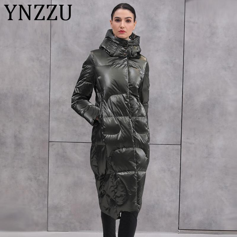 YNZZU 2020 Зимних Новой коллекции Женского пуховик Яркий Длинный капюшон ветрозащитного Теплый 90% белая утка вниз пальто Плюс Размер A1356
