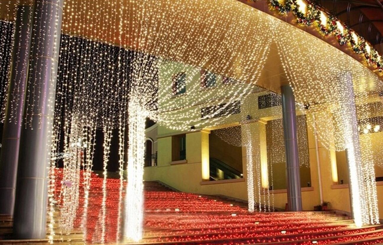 الاتحاد الأوروبي التوصيل الولايات المتحدة 3M * قطاع 300leds 3M الأضواء الساطعة حارة LED سلسلة الستار الخفيفة عيد الميلاد حديقة المنزل أضواء مهرجان