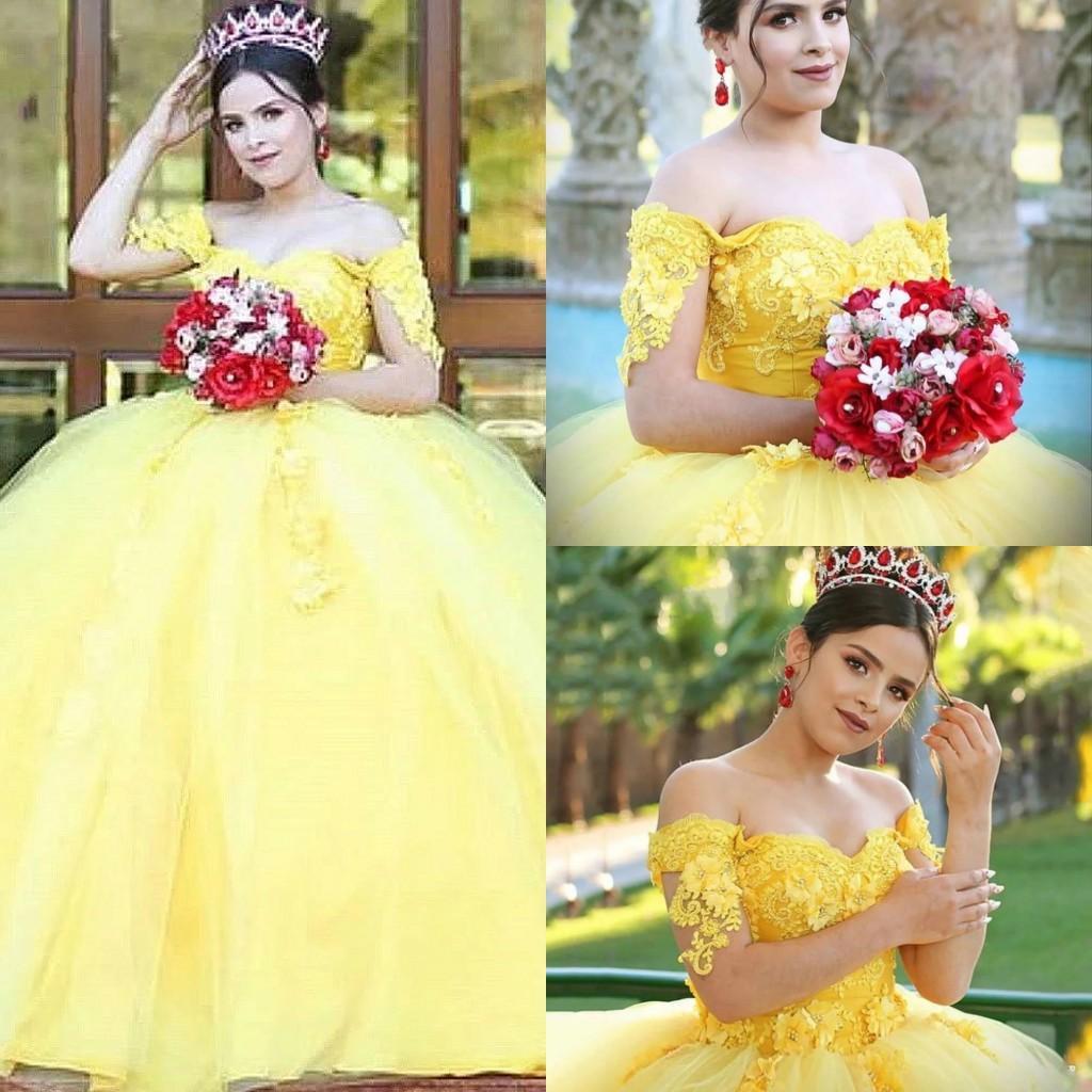 Giallo Quinceanera Plus Size perline merletto di Applique degli abiti di sfera di Tulle Sweet 16 abiti della principessa delle donne vestito convenzionale dal vestito da sera di promenade