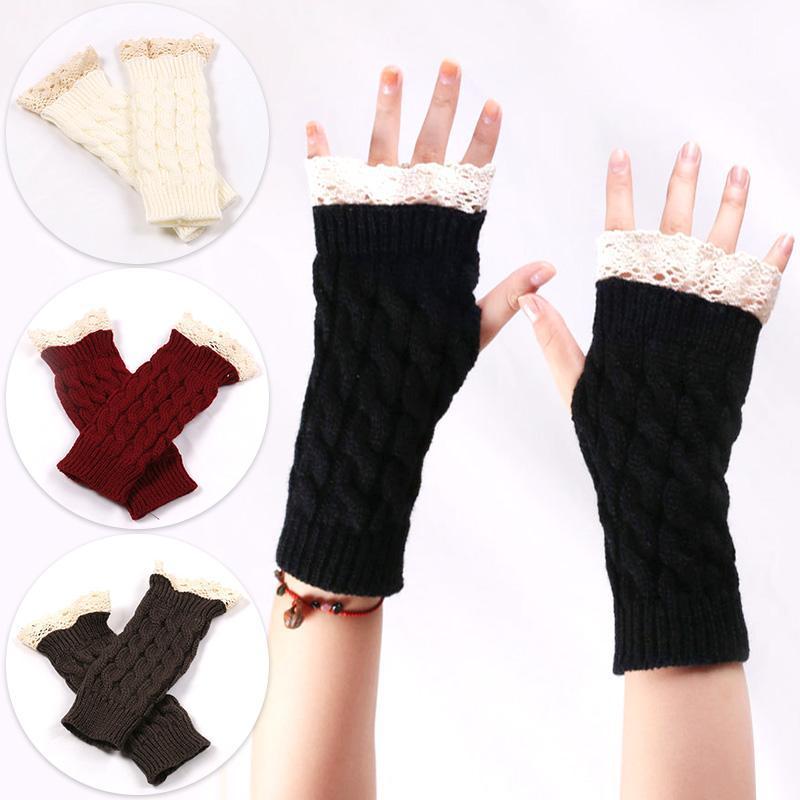 Зимние теплые Fingerless вязаные перчатки для женщин Акриловая Stretch Половина Finger Arm перчатки крючком Вязание Поддельный Девушки Mitten перчатки