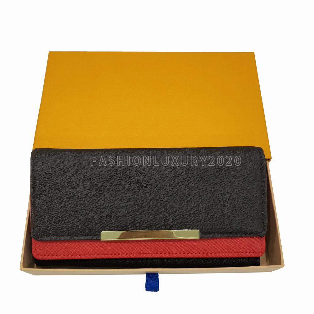 Nueva calidad de la más alta calidad bolsas de embrague bolsas de embrague Billfold de alta gama de cuero presbellina billeteras bolsas para mujeres Paquete de plegado largo billetera con caja