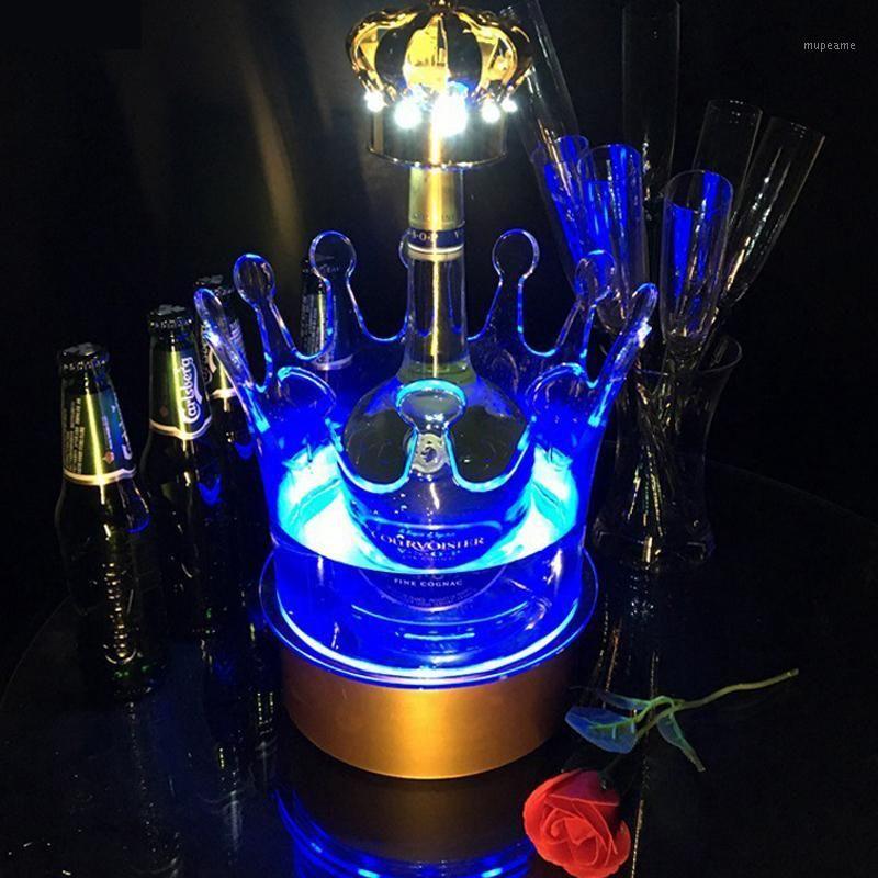 Baldes de gelo e refrigeradores LED Bucket Cobrança de cor mudando de vinho Cooler Crown Champagne Holder Bebidas Barra de cerveja Barra / Casamento / Casa Festa1