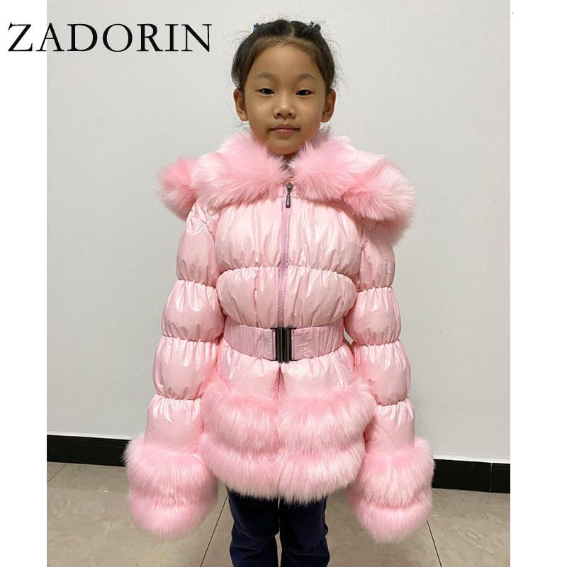 Задорин 2020 зима новой девушки Белой утка куртка для детей Furry искусственный мех Воротник Толстых Теплого Ребенок вниз пальто с капюшоном Верхней одежды