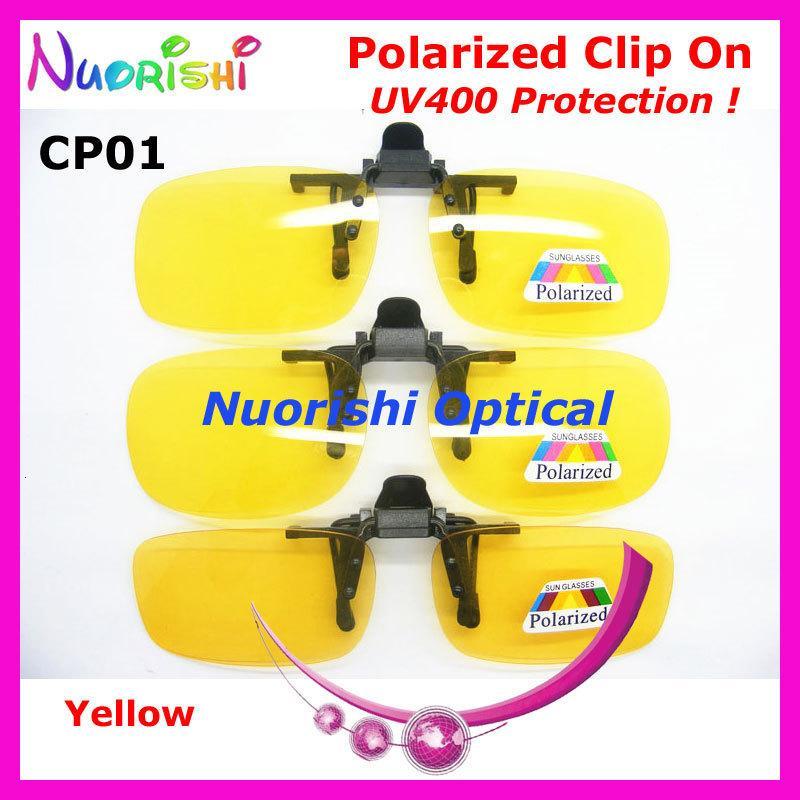 20pcs CP01 Notte Occhiali da sole TAC con UV400 Clip On Lens Giallo vetri polarizzati di trasporto