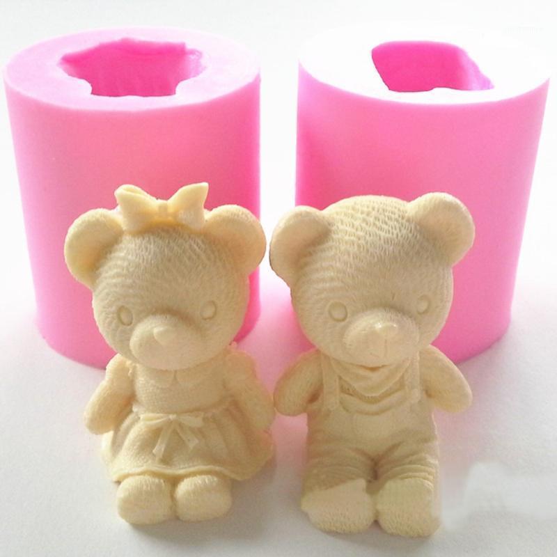 케이크 도구 귀여운 곰 소년 소녀 실리콘 비누 금형 퐁당 꾸미시 설사 크래프트 초콜릿 껌 붙여 넣기 촛불 moulds1