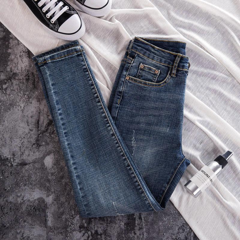 Kadınlar için Yeni Skinny Jeans Kadın Pantolon İnce Elastik Artı Boyutu Streç Kot Artı Boyutu Denim Mavi Sıska Kalem Pantolon Pantolon W0104