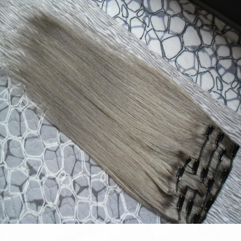 Extensions de cheveux gris argentés 100g pince à cheveux humains droits SER 7 pcs clip sur les extensions de cheveux humains droite
