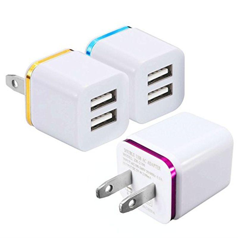 Металлические двойные USB-стены US Plug 2.1a AC адаптер питания стены зарядное устройство 2 порты для iPhone, планшета Samsung