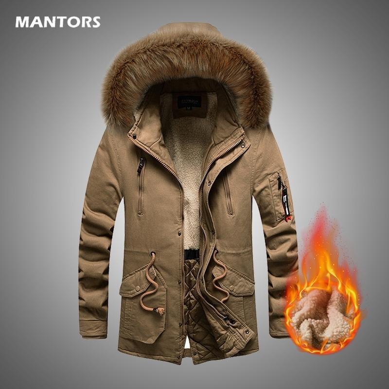 Inverno Casacos Men pele grossa algodão com capuz Parkas Marca Mens Casual Quente Velo inverno Windproof Hat Parkas Jacket Men 201110