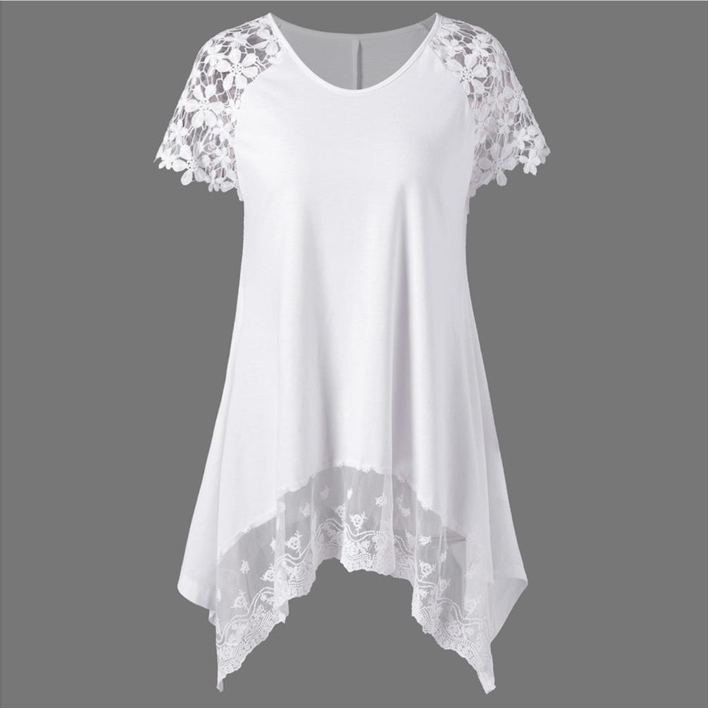 Lace estate donne di modo camicetta Trim irregolare o collo Tee Top Lady Casual Shirt manica corta camicetta di estate femminile Blusa