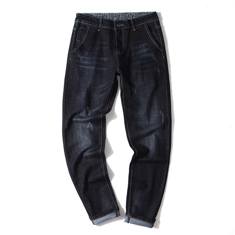Männer Jeans Marke Männliche Jeans Für Männer Gerade Homme Jean Slim Distressed Design Biker Hosen Fit Black Normal
