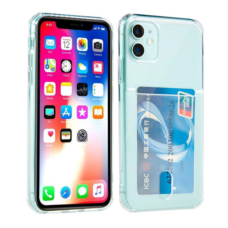 아이폰 (12) 미니 (11) 프로 맥스 XR XS 6 7 8 플러스 카드 홀더 클리어 소프트 TPU 고무 젤 충격 방지 지갑 케이스