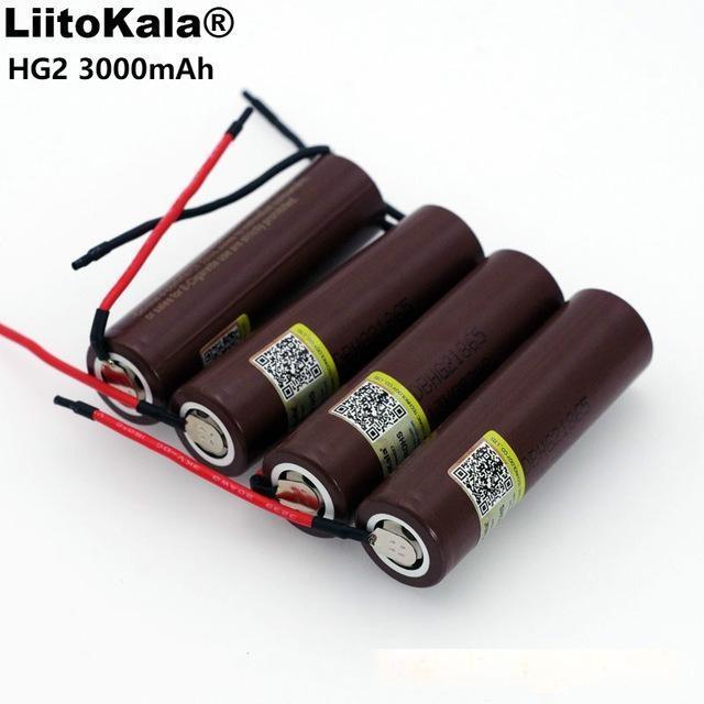 Las baterías de repuesto Liitokala nueva HG2 18650 3000mAh batería de 3.6V 20A 18650HG2 descarga, las baterías de gel de sílice dedicados DIY cable