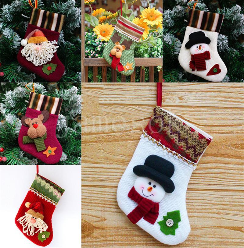 HOT Weihnachten Socken Geschenkbeutel Süßigkeitsocken Weihnachtsbaum hängende Dekorationen Socken Weihnachtsgeschenk Candy-Beutel DB133