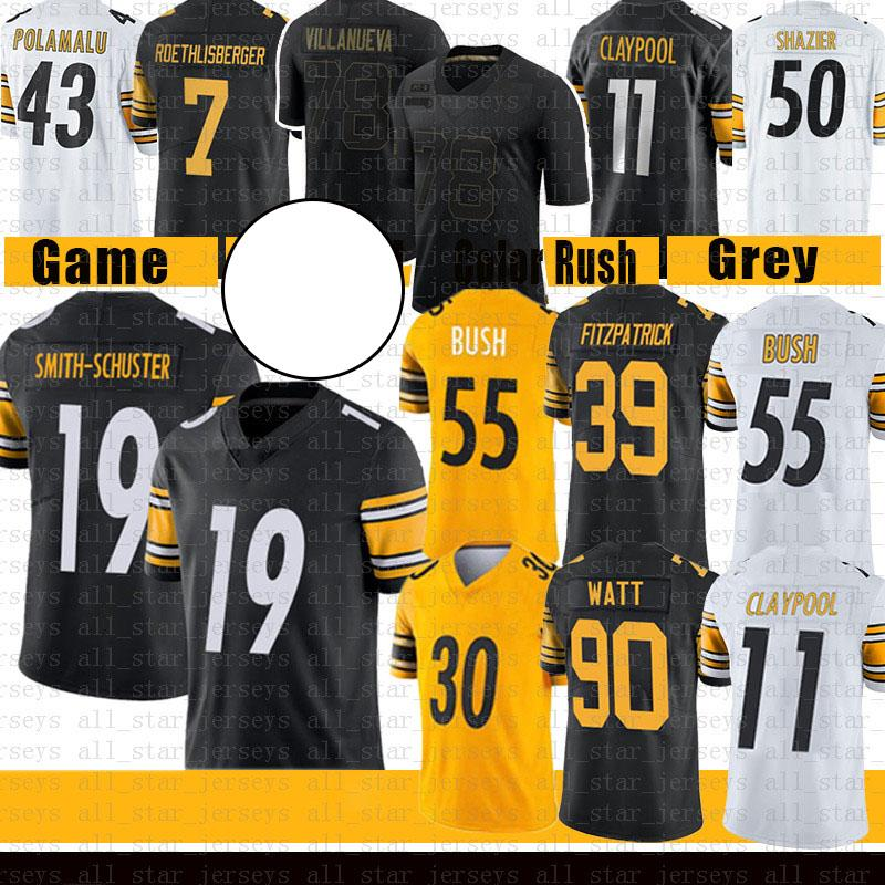 Minkah Fitzpatrick Juju Smith-Schuster 90 T.J. Watt Devin Bush Football Jersey 11 Chase Claypool Conner Ben Roethlisberger Ward Ryan Shazier