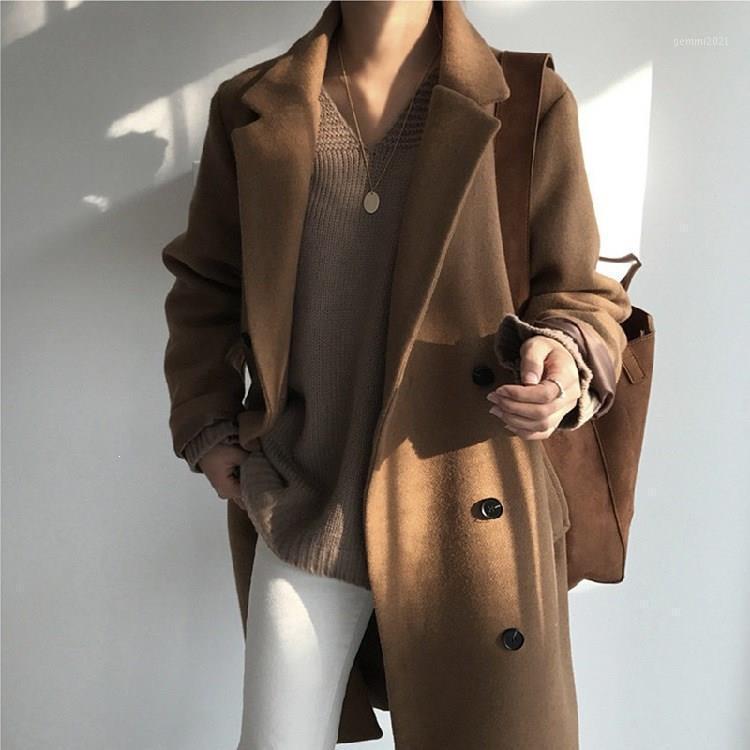 Женщины сплошной поворотного воротника Длинные шерстяные пальто осенью зима новых двубортных свободных расщеливателей плюс размер пальто1