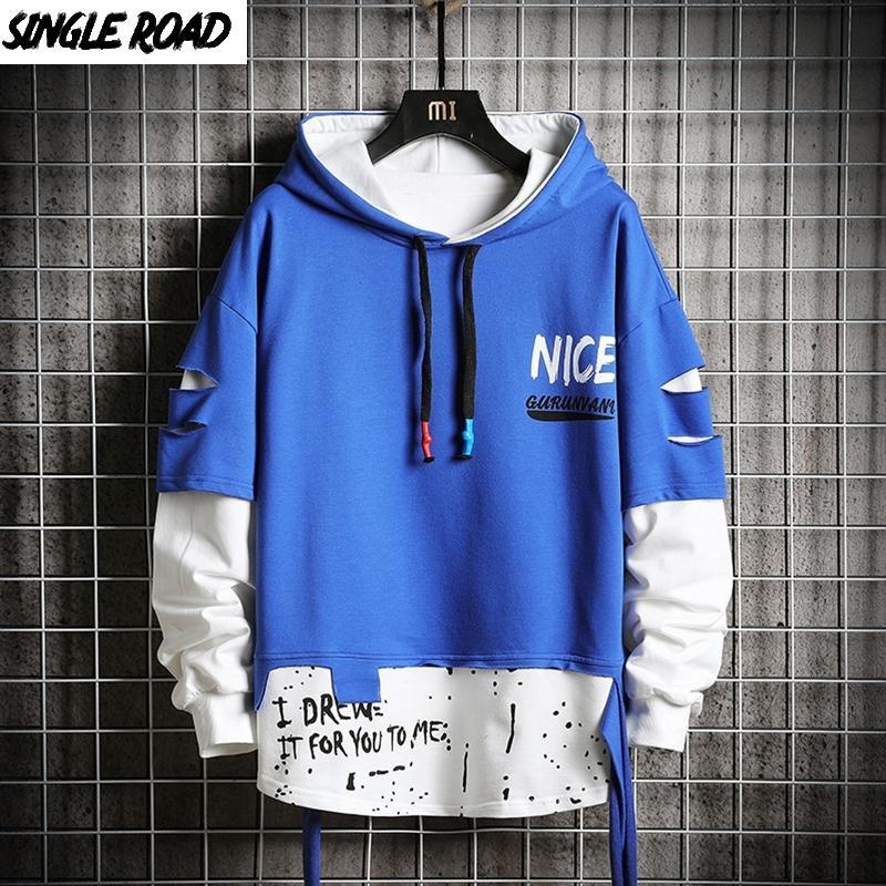 SingloadOad Sweats à capuche surdimensionné Homme Hommes déchiré Patchwork HIP HOP HOP Streetwear Harajuku Blue Hoodie Homme Sweat-shirt Homme 201114