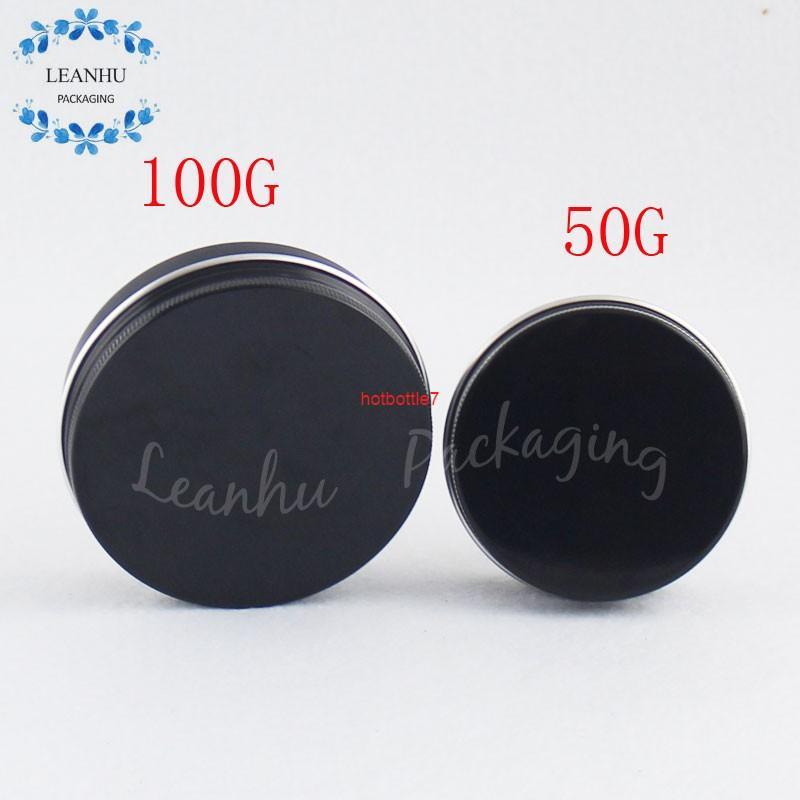 Lattine in alluminio nero con tappo a vite, eyeliner liquido solido da 50 g, contenitore di rossetto, ricaricabile cosmetici vuoti imballaggi containerà altity