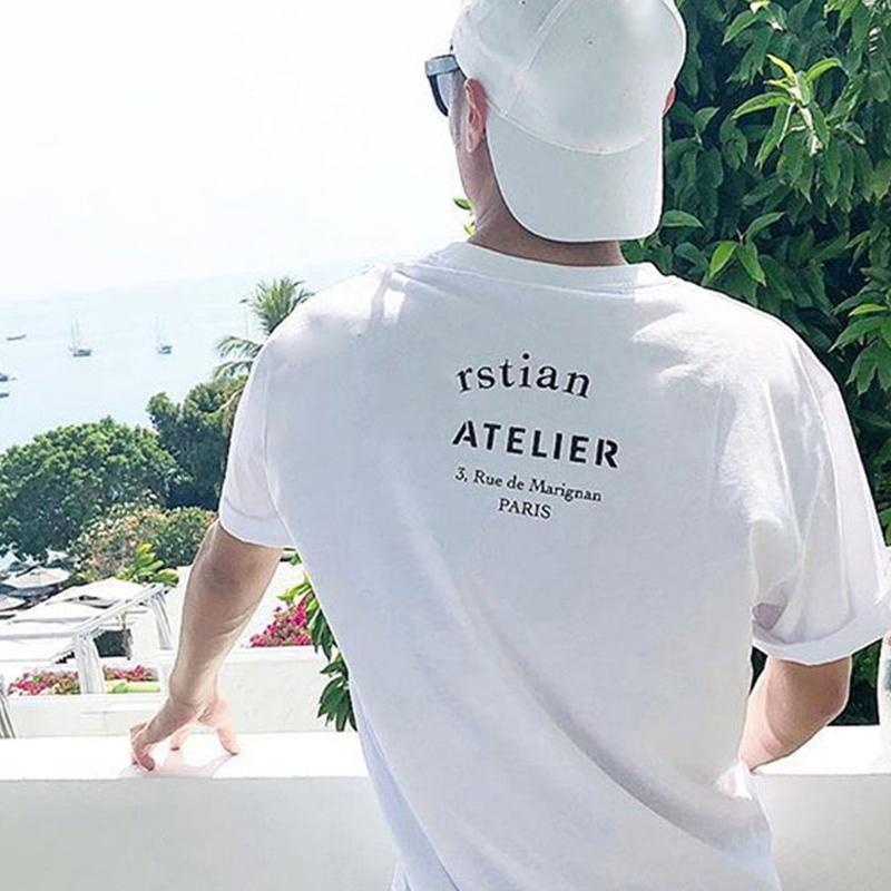 41 20fw 프랑스 고품질 스트리트 티 클래식 로고 편지 인쇄 티셔츠 단단한 반팔 남자 여자 여름 크루 넥 티